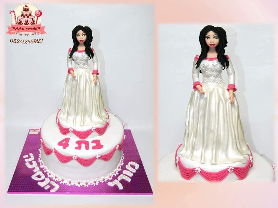 עוגה מעוצבת נסיכה בלבן