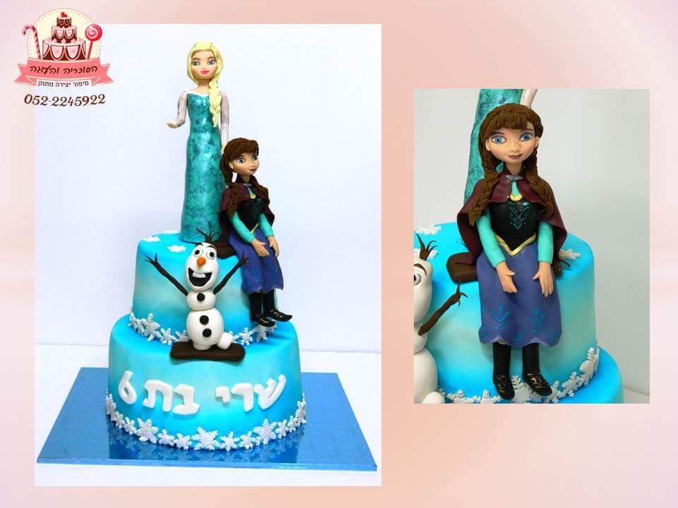 עוגת אנה ואלזה מבצק סוכר - עוגות יום הולדת לבנות