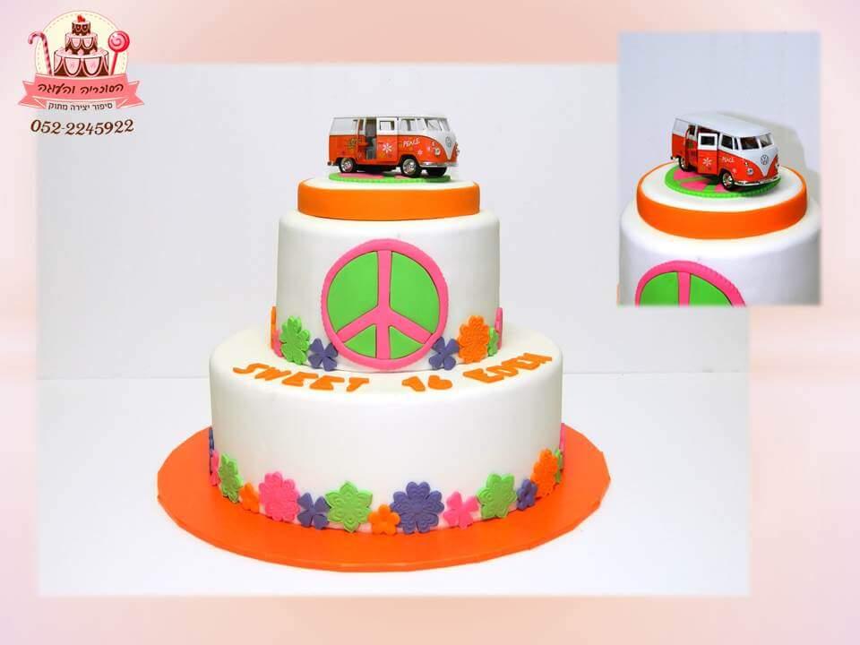 עוגת יום הולדת שתי קומות מכונית ואן
