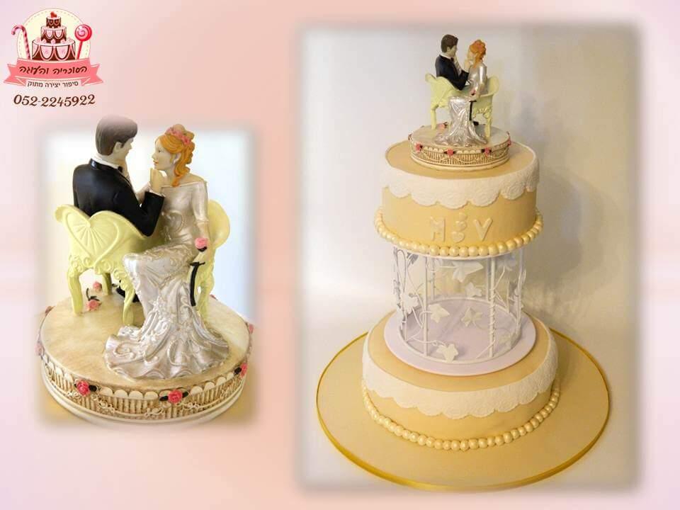 עוגה מעוצבת לחתונה דמויות פורצלן